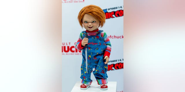"Romeo the dog was dressed up to resemble notorious serial killing doll Chucky from the ""Child's Play"" franchise."