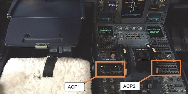 An image of theACP1 and ACP2 boxes in the cockpit.