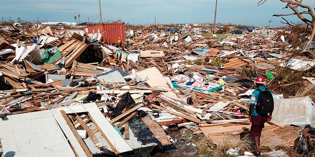 Extensive damage and devastation following Hurricane Dorian were observed on Big Abaco Island in the Bahamas on Thursday. (AP)