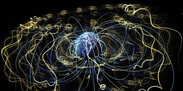 Around Earth, an invisible magnetic field traps electrons and other charged particles. (Credit: NASA's Goddard Space Flight Center)