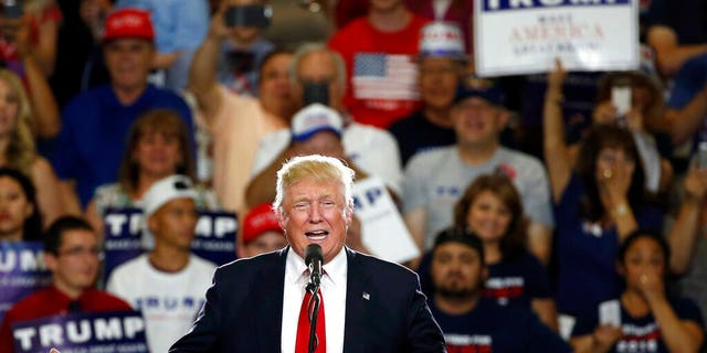 Then-presidential candidate Donald Trump speaking at a campaign event in Albuquerque, N.M., in 2016. (AP Photo/Brennan Linsley, File)