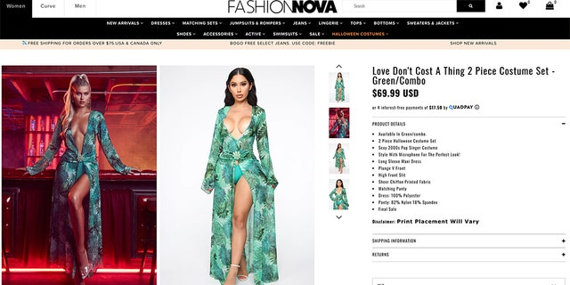 "J.Lo fans can purchase the ""Love Don't Cost a Thing"" gown, based on the performer's infamous plunging green Versace dress number at the 2000 Grammys."