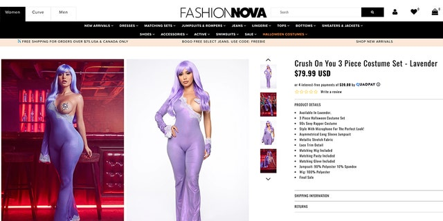 "Halloween queens who dare to bare might delight in the skin-tight ""Crush On You"" purple catsuit, inspired by Lil' Kim's legendary attire at the 1999 MTV Music Awards."