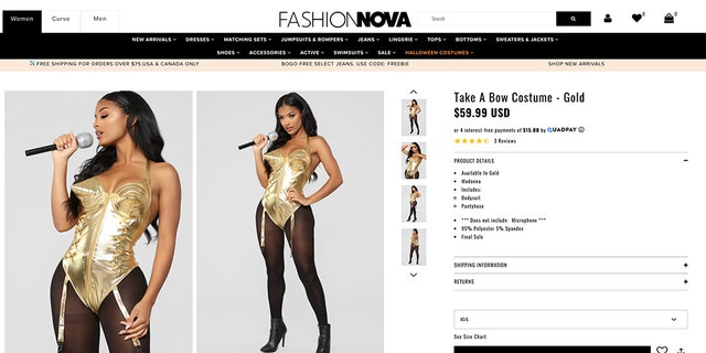 "Madonna's legendary cone bra outfit was reimagined into the <a data-cke-saved-href=""https://www.fashionnova.com/collections/halloween/products/take-a-bow-costume-gold"" href=""https://www.fashionnova.com/collections/halloween/products/take-a-bow-costume-gold"" target=""_blank"">""Take a Bow"" look,</a> in a bold choice for Oct. 31."
