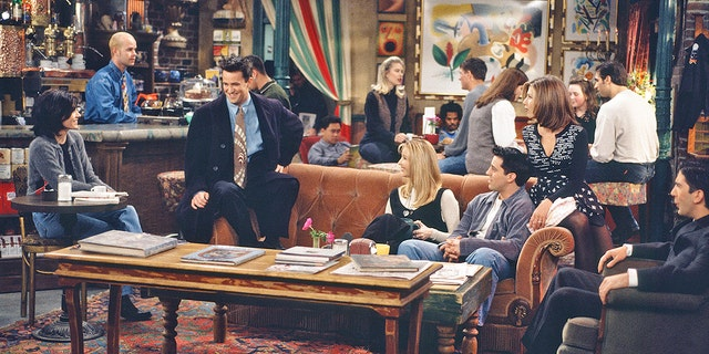 Courteney Cox as Monica Geller, James Michael Tyler as Gunther (far back), Matthew Perry as Chandler Bing, Lisa Kudrow as Phoebe Buffay, Matt LeBlanc as Joey Tribbiani, Jennifer Aniston as Rachel Green, David Schwimmer as Ross Geller (Joseph Del Valle/NBC/NBCU Photo Bank via Getty Images)
