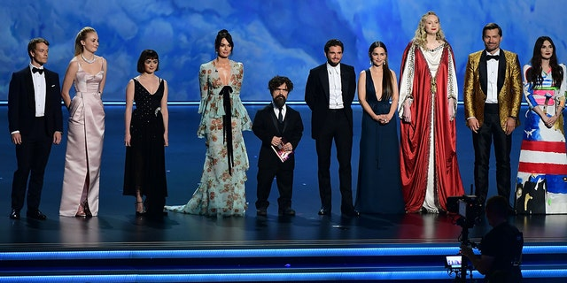 "The cast of ""Game of Thrones"" speaks onstage during the 71st Emmy Awards at the Microsoft Theatre in Los Angeles on September 22, 2019."