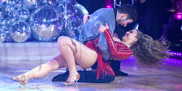 "Hannah Brown and Alan Bersten dance during the premiere episode of ""Dancing with the Stars"" on Sept. 16."