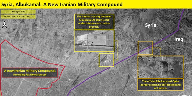 This image shows a new Iranian military compound, according to Fox News sources; center is the Iranian crossing between Albukamal-Al-Qaim under construction; right is the official border crossing which is blocked and not active.