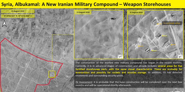The construction of the marked new military compound began in recent months and is currently in advanced stages, already including several areas for fortified storehouses, probably for ammunition.