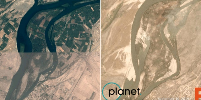 Qanus Island in Iraq as seen on Google Earth prior to the U.S. airstrike on Sept. 10, and a satellite image showing the island after the strike that day. (Satellite image courtesy of Wim Zwijnenburg and Planet Labs, Inc.)