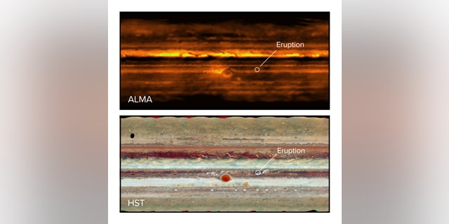 Jupiter in radio waves with ALMA (top) and visible light with the Hubble Space Telescope (bottom). The eruption in the South Equatorial Belt is visible in both images. (Credit: ALMA [ESO/NAOJ/NRAO] I de Pater et al.; NRAO/AUI NSF, S. Dagnello; NASA/Hubble)