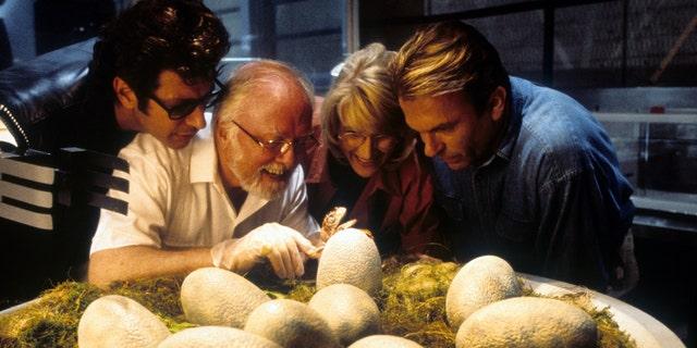 election 2020  Donald Trump  President Trump  Conservative News  RNC Jeff Goldblum, Richard Attenborough, Laura Dern and Sam Neill watch dinosaur eggs hatch in a scene from the film 'Jurassic Park', 1993.