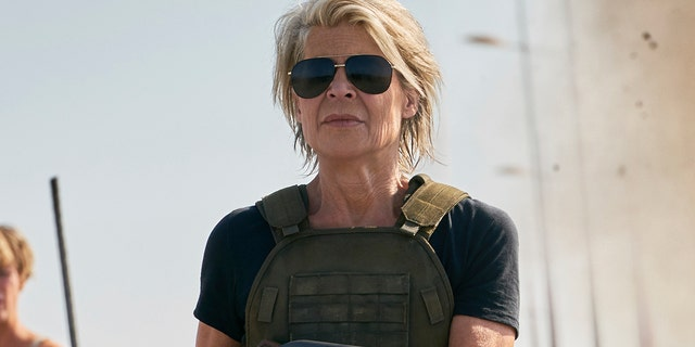 "This image released by Paramount Pictures shows Linda Hamilton in a scene from ""Terminator: Dark Fate,"" in theaters on Nov. 1. (Kerry Brown/Skydance Productions and Paramount Pictures via AP)"