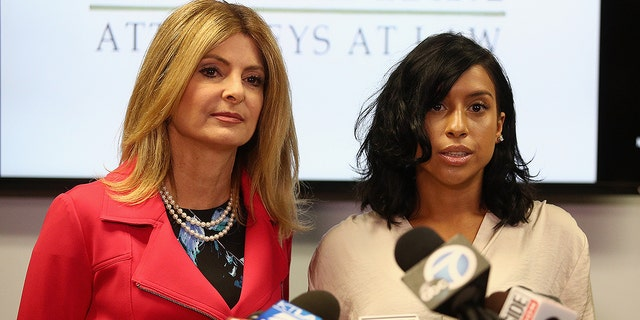 Lisa Bloom, lawyer for Montia Sabbag, speaks regarding the alleged attack on her client's character after accusations that Sabbag attempted to extort comedian Kevin Hart during a press conference held at The Bloom Firm Sept. 20, 2017 in Woodland Hills, Calif. The scandal stems from a provocative video taken in Las Vegas last month where both Hart and Sabbag are seen.