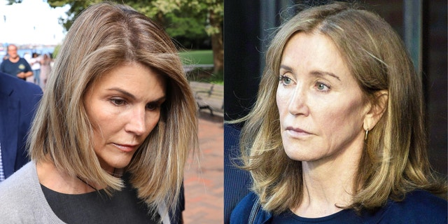 Lori Loughlin appears in court in Boston in September 2019 about the college admissions scandal. At right, Felicity Huffman leaves her sentencing in the college admissions scam case, dubbed