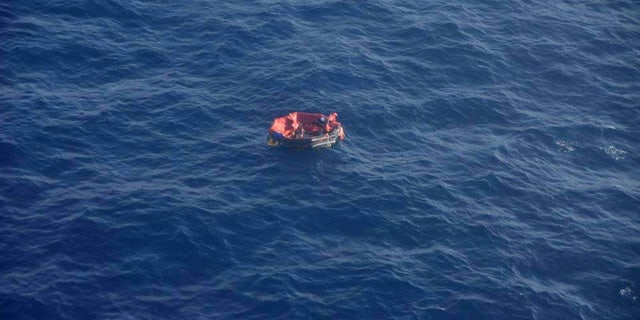 The lifeboat found Saturday that was carrying three crew members from the sunken tugboat Bourbon Rhode as seen in this photo by Marine Nationale, the French Navy.