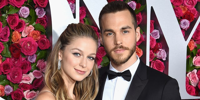 """Super Girl"" star Melissa Benoist and Chris Wood attend the 72nd Annual Tony Awards at Radio City Music Hall on June 10, 2018 in New York City. The pair married in early September 2019."