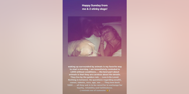 Miley Cyrus, 26, detailed the difference between dogs and humans in an Instagram Story on Sunday morning.