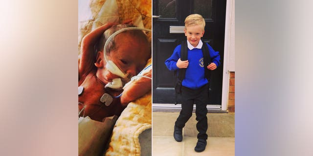 Roman Burns, who was born three months early, has started school.