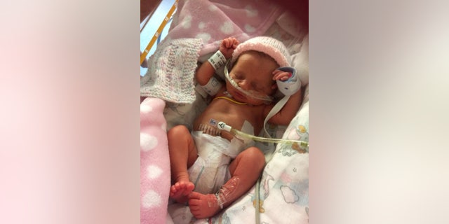Kiera Meldrum's baby Lillee-Rose in the hospital.