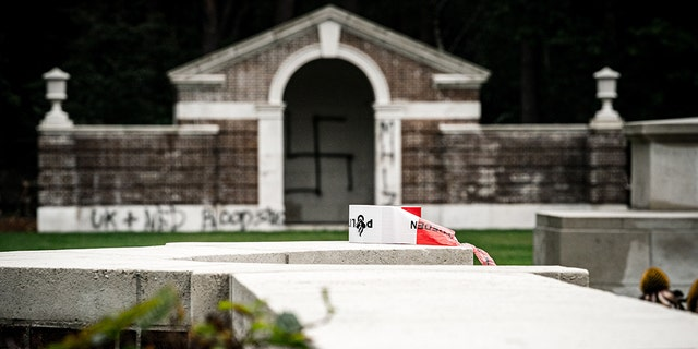A large swastika was daubed on the inner wall of the chapel in the British World War II Commonwealth Graves cemetery in Mierlo, east of Eindhoven, Netherlands, on September 13, 2019. (Photo by Rob Engelaar / ANP / AFP) / Netherlands OUT (Photo credit should read ROB ENGELAAR/AFP/Getty Images)