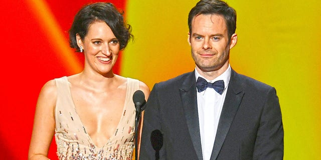 Winners Phoebe Waller-Bridge and Bill Hader speak onstage during the 71st Emmy Awards at Microsoft Theater on Sept. 22, 2019 in Los Angeles.