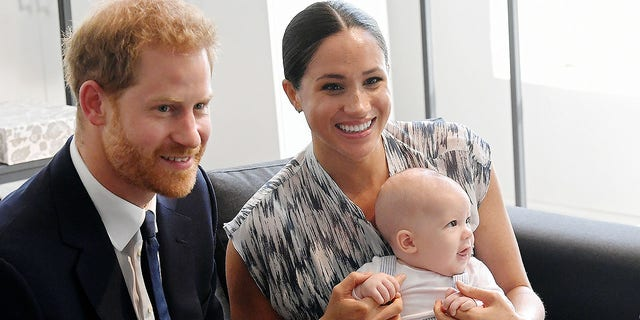 Prince Harry, the Duke of Sussex, Megan, the Duchess of Sussex and their baby son Archie Mountbatten-Windsor meet with Archbishop Desmond Tutu and his daughter Tandeka Tutu-Gksashe at the Desmond and Leah Tutu Heritage Foundation tour in South Africa on September 25, 2019 in Cape Town, South Africa.