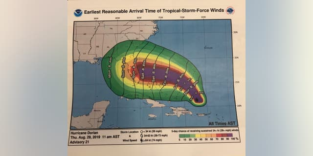 The president on Thursday afternoon invited Fox News into the Oval Office to argue that forecasts for Dorian last week had Alabama in the warning cone and provide graphics, like this one from the National Hurricane Center. (John Roberts/Fox News)