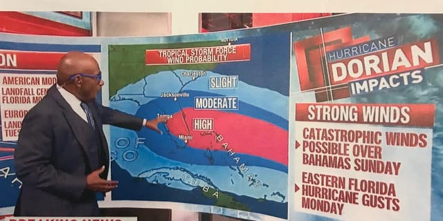 President Trump handed out this screenshot of an NBC News segment showing Alabama possibly being affected by Dorian. (John Roberts/Fox News)