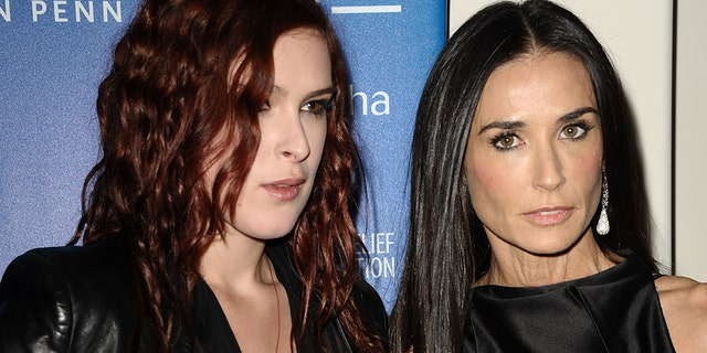 Rumer Willis and Demi Moore attend the Cinema for Peace fundraiser for Haiti at Montage Beverly Hills on January 14, 2012 in Beverly Hills, California.