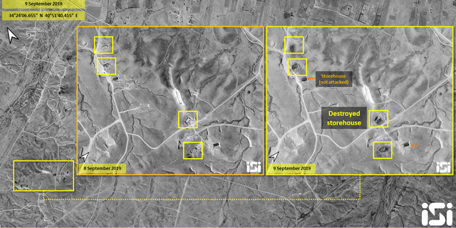 New satellite images Monday from Image Sat International (ISI) show eight storehouses destroyed.