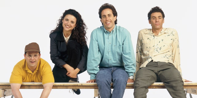 Pictured: (l-r) Jason Alexander as George Costanza, Julia Louis-Dreyfus as Elaine Benes, Jerry Seinfeld as Jerry Seinfeld, Michael Richards as Cosmo Kramer
