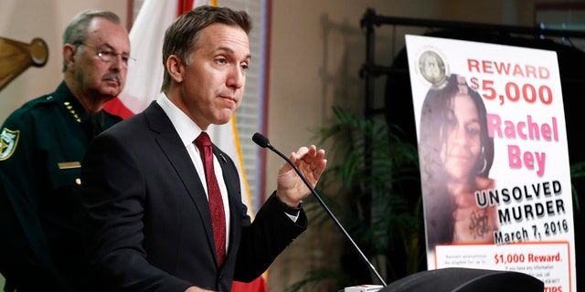 Dave Aronberg, state attorney for Palm Beach County, Fla., speaks during a news conference on Monday, Sept. 16, 2019, in West Palm Beach, Fla. Palm Beach County Sheriff's officials said they arrested 32-year-old Robert Hayes for first-degree murder in Rachel Bey's death.