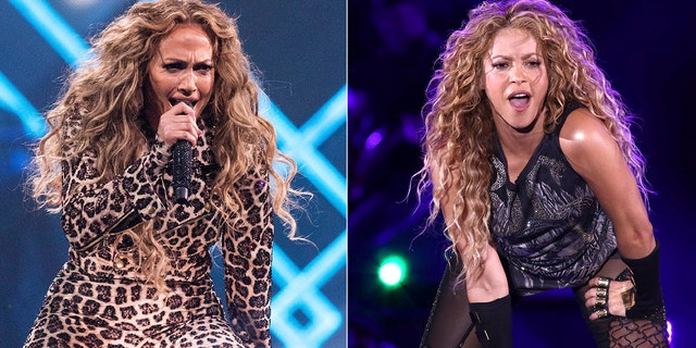 This combination photo shows actress-singer Jennifer Lopez performing at the Directv Super Saturday Night in Minneapolis on Feb. 3, 2018, left, and Shakira performing at Madison Square Garden in New York on Aug. 10, 2018. The NFL, Pepsi and Roc Nation announced Thursday, Sept. 26, 2019, that Lopez and Shakira will perform at the 2020 Pepsi Super Bowl Halftime Show on Feb. 2, 2020 at Hard Rock Stadium in Miami Gardens, Fla.