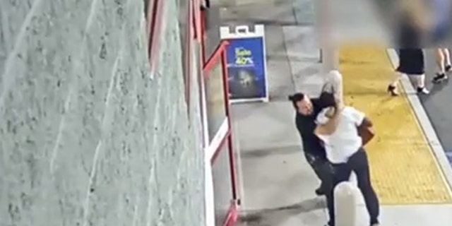 The Best Buy employee is seen on surveillance video chasing the man, trying to stop him before he got out the doors, but as they struggled over the bag, the suspect dragged the employee outside the store and into the parking lot.