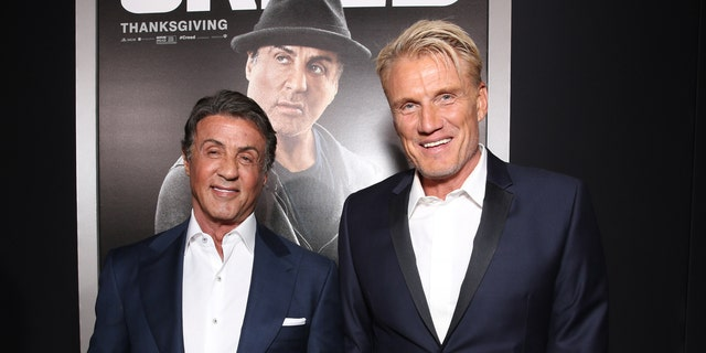 "Sylvester Stallone, left, and Dolph Lundgren attend the premiere of Warner Bros. Pictures' ""Creed"""