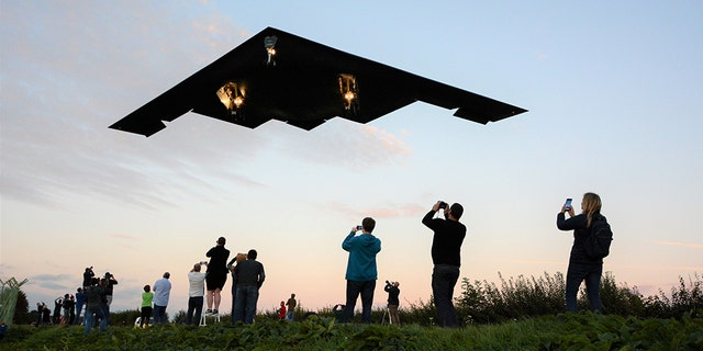 The Northrop Grumman B-2 Stealth Bomber comes in to land at RAF Fairford, Gloucestershire on September 11th.
