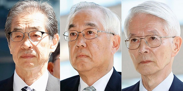 In this combination of photos, from left, former Tokyo Electric Power Co. (TEPCO) Vice Presidents Ichiro Takekuro and Sakae Muto and chairman Tsunehisa Katsumat arrive at Tokyo District Court in Tokyo Thursday.