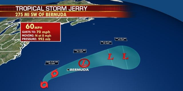 The forecast track of Tropical Storm Jerry.