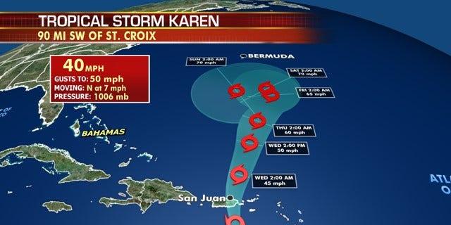 The forecast track of Tropical Storm Karen.