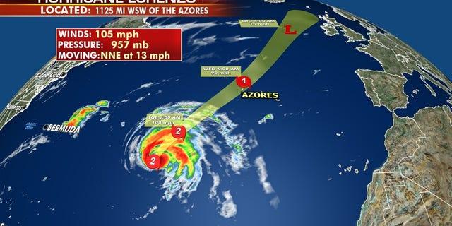 The forecast track of Hurricane Lorenzo.