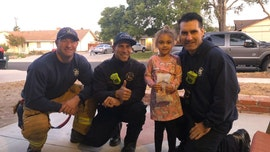 California firefighters visit girl on her birthday while her dad is away battling Getty Fire