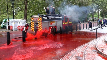 Environmental protesters spray UK's Treasury building with fake blood, four arrested
