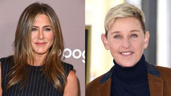 Jennifer Aniston and Ellen DeGeneres share a kiss on TV