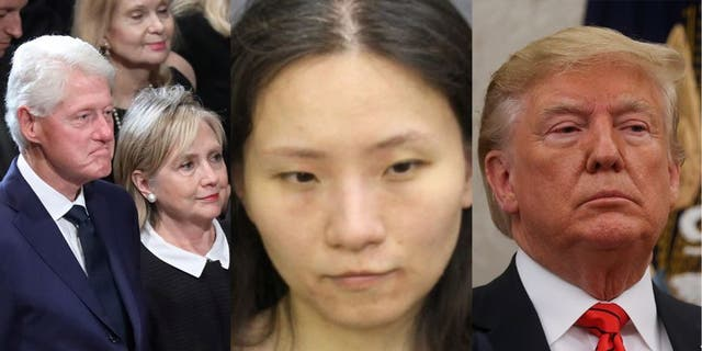 Yujing Zhang, 33, center, was convicted of trespassing at President Trump's Mar-a-Lago resort in Florida earlier this year. She had reportedly been urged to gather information on the Clintons at a separate event, text messages show.