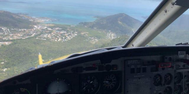 A rescue helicopter seen on its way to rescue two shark victims off the Australian coast.