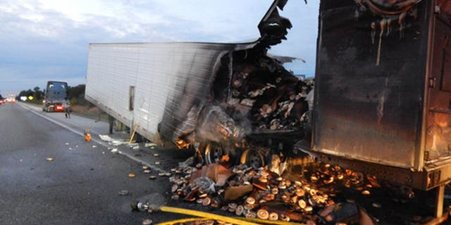 Roughly 38,000 pounds of frozen bagels were ruined when this tractor-trailer caught fire in Indiana on Sunday.