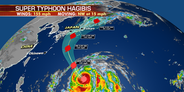 The forecast track of Super Typhoon Hagibis