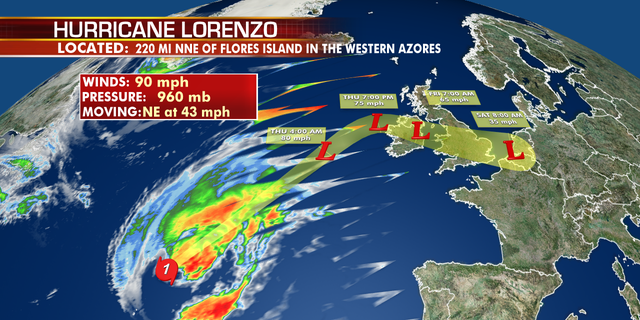 The forecast track of Lorenzo.