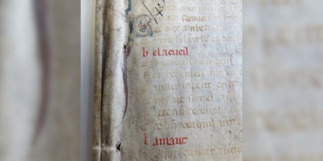 """The words """"bel accueil"""" on a parchment fragment tipped off medieval expert Marianne Ailes that this was a copy of the famous French poem """"La Roman de la Rose."""" (Credit: Courtesy the Bishop of Worcester)"""
